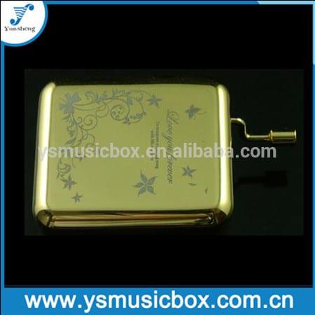 Professional China Christmas Carousel Music Box - NEW Golden Case Metal hand crank music box custom logo Gift Laser Engraving Metal handcrank musical box – Yunsheng