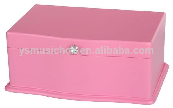 Pink colour wooden jewlery custom music box