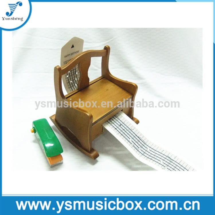 Wooden Musical Box Rocking Chair Shaped DIY Paper Strip hand crank music box
