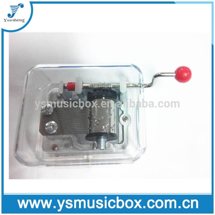 Yunsheng Handcrank Musical Movement Clear Music Box custom made hand crank music box