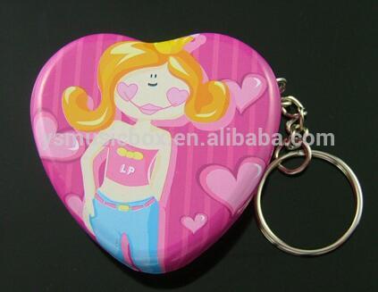 NEW Metal material heart design music box key chain candy colour music box